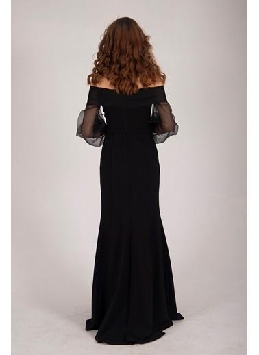 Belamore  Siyah Kayık Yaka Önden Yırtmaçlı Balık Abiye&Mezuniyet Elbisesi 9704790.01 Siyah